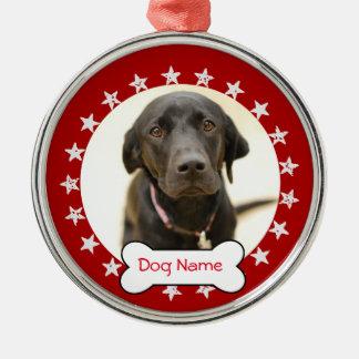 Personalisierte HundeFoto-Verzierung - Sterne Silbernes Ornament