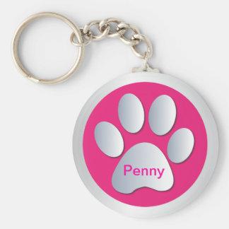 Personalisierte Hundenamensumbautatzen-Druck keych Standard Runder Schlüsselanhänger