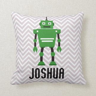 Personalisierte Jungen-grünes Roboter-Kissen Kissen