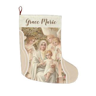 Personalisierte Jungfrau Mary mit Jesus u. Engeln Großer Weihnachtsstrumpf