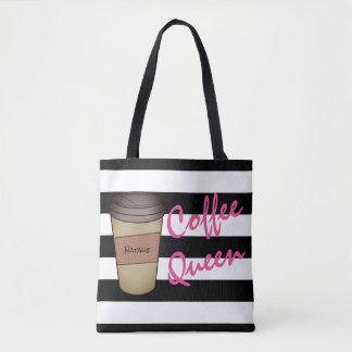 Personalisierte Kaffee-Königin-gestreifte Tasche