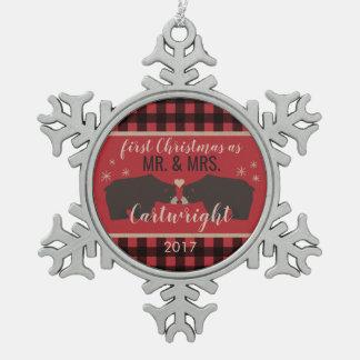 Personalisierte karierte die schneeflocken Zinn-Ornament