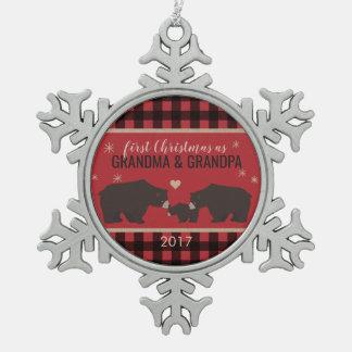 Personalisierte karierte schneeflocken Zinn-Ornament