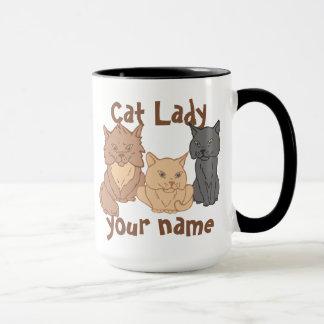Personalisierte Katzen-Dame Tasse