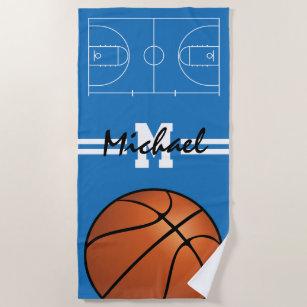 Personalisierte Kinder Basketball Monogramm Strandtuch