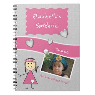 Personalisierte Kinder rosa und graues Foto Notizblock