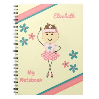 Personalisierte Kinder rosa und grüne Ballerina Spiral Notizblock