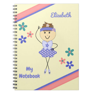 Personalisierte Kinderlila Ballerina Spiral Notizblock