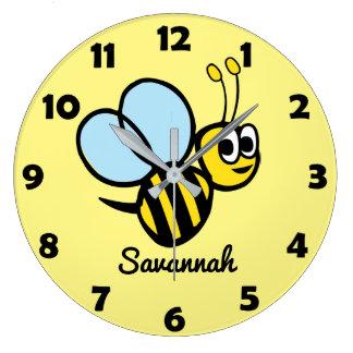Personalisierte Kinderniedliche Bienen-Gelb-Hummel Große Wanduhr