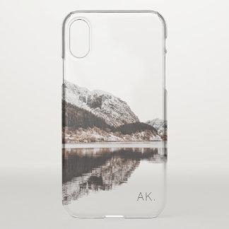 Personalisierte klare iPhone X Rechtssache   Berge iPhone X Hülle