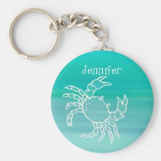 Personalisierte Krabbe in einem Aquamarine Standard Runder Schlüsselanhänger