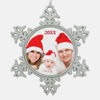 Personalisierte kundenspezifische FAMILIE Schneeflocken Zinn-Ornament