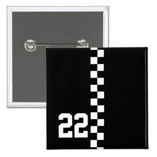 Personalisierte laufende Flagge Schwarzweiss Anstecknadelbuttons