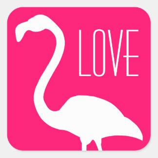 Personalisierte Liebe-heller rosa und weißer Quadratischer Aufkleber