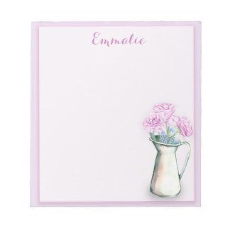 Personalisierte lila Blumen im Vasen-Notizblock Notizblock