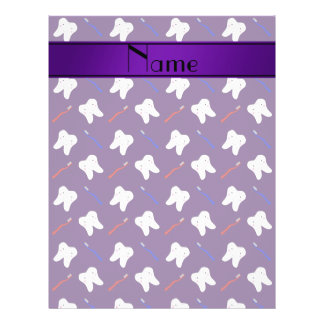 Personalisierte lila Namensbürsten und Zahnmuster 21,6 X 27,9 Cm Flyer