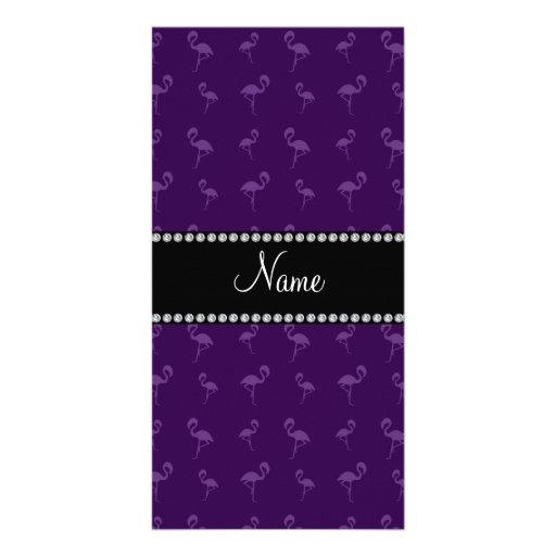 Personalisierte lila Namensflamingos Bilderkarte