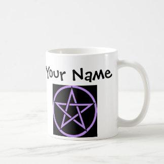 Personalisierte lila Pentagram-/Pentagramm Wiccan Kaffeetasse