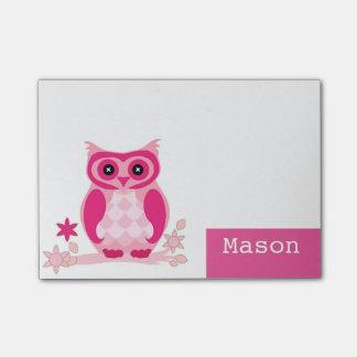 Personalisierte lustige rosa Eule Post-it Klebezettel