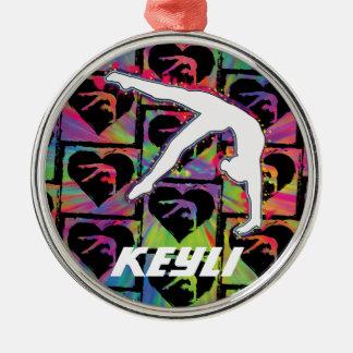 Personalisierte Mädchengymnast-Tänzer-Verzierung Rundes Silberfarbenes Ornament