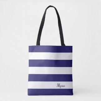 Personalisierte Marine-Blau-und weißegestreifte Tasche