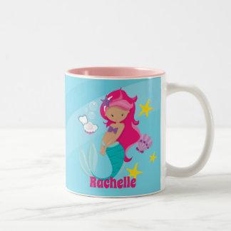 Personalisierte Meerjungfrau Zweifarbige Tasse