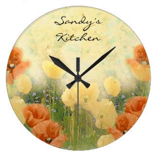 Personalisierte Mohnblumen-Küchen-Uhr Wanduhren