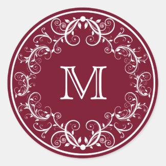 Personalisierte Monogramm-Aufkleber Runder Aufkleber