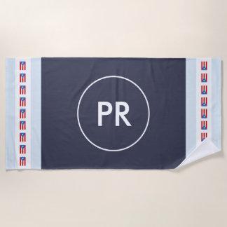 Personalisierte Monogramm-Puerto- Ricoflagge Strandtuch