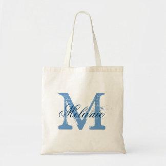 Personalisierte Monogramm-Taschentasche   blau und Taschen