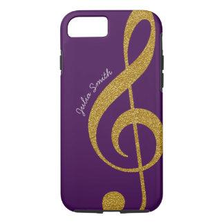 personalisierte Musik des Golddreifachen Clef lila iPhone 8/7 Hülle