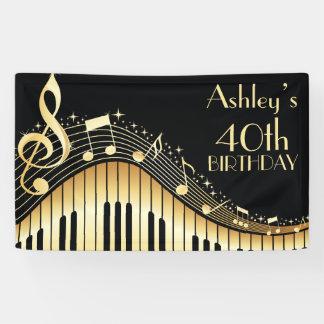 Personalisierte Musik-Geburtstags-Fahne Banner