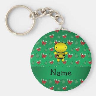 Personalisierte Namensbienengrün-Zuckerstangebögen Schlüsselband