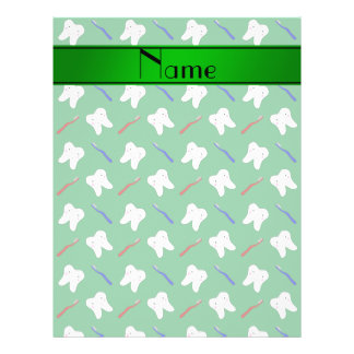 Personalisierte Namensgrünbürsten und Zahnmuster 21,6 X 27,9 Cm Flyer