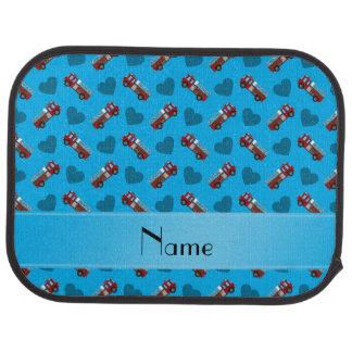 Personalisierte Namenshimmelblau-Feuer-LKW-Herzen Autofußmatte