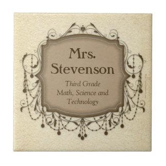 Personalisierte Namenslehrer-Klassenzimmer-Zeichen Kleine Quadratische Fliese