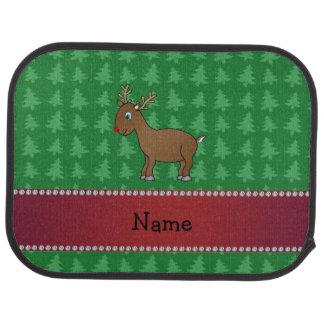 Personalisierte Namensrengrün-Weihnachtsbäume Autofußmatte