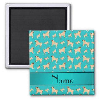 Personalisierte Namenstürkis Mopshunde Quadratischer Magnet