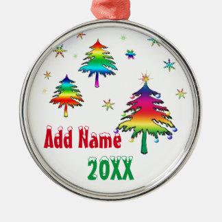 Personalisierte niedliche bunte rundes silberfarbenes ornament