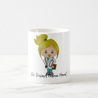 Personalisierte niedliche Dame Doktor Mug - Blondi Tee Tasse