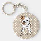 Personalisierte niedliche englische Bulldogge Schlüsselanhänger