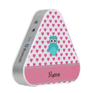 Personalisierte niedliche Eulenrosanamensherzen Bluetooth Lautsprecher
