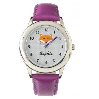 Personalisierte niedliche lila Mädchennamensuhr Armbanduhr
