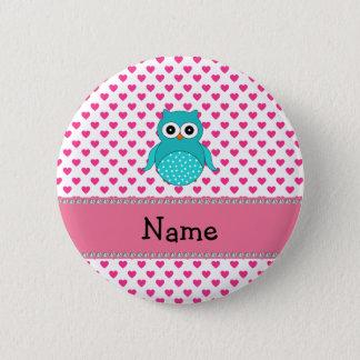 Personalisierte niedliche Namenseule Runder Button 5,7 Cm