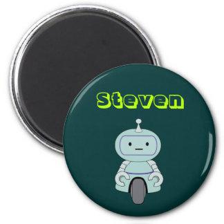 Personalisierte niedliche Roboter-Illustration Runder Magnet 5,7 Cm