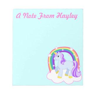 Personalisierte niedliche Unicorn-Anmerkungs-Aufla Notizblock