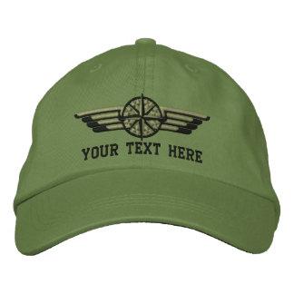 Personalisierte Nordstern-Kompass-Pilotflügel Bestickte Baseballkappe