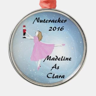 Personalisierte Nussknacker-Clara-Verzierung Rundes Silberfarbenes Ornament