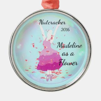 Personalisierte Nussknacker-Verzierung - Blume Rundes Silberfarbenes Ornament