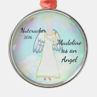 Personalisierte Nussknacker-Verzierung - Engel Rundes Silberfarbenes Ornament